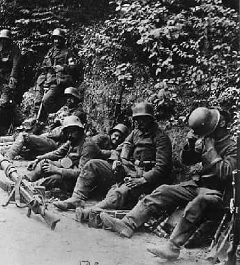 German Soldiers on roadside at the Battle of Caporetto.