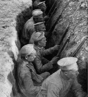 German Soldiers in trench at the First Battle of the Marne.