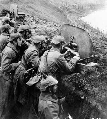 German Soldiers in trench at the Battle of Verdun.
