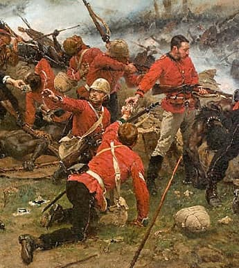 British soldiers fighting Zulu's